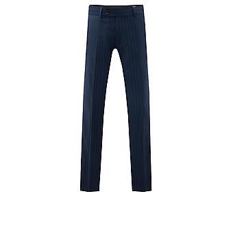 Dobell Hombres Navy Stripe Traje Pantalón Ajuste Regular