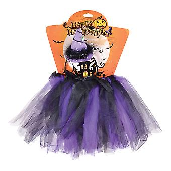Bnov Witch Tutu lila/svart + pannband kostym