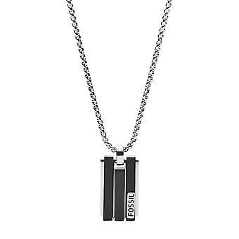 Fossiele ketting en hanger JF03126998-heren jurk zilver staal mannen