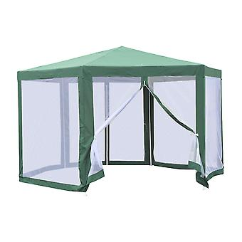 Outsunny Netting Gazebo Hexagon Tent Patio Canopy Outdoor Shelter Party Activities Shade Water Resistant (Green)