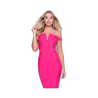 P UK Off Shoulder Lace Panel Bardot Bodycon Dress