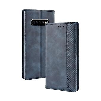 Voor Samsung Galaxy S10 PLUS Case, Retro PU Leather Folio Wallet Cover, Blauw