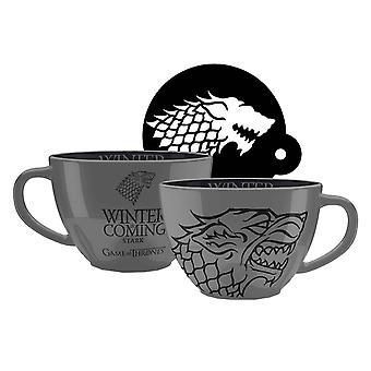 Game of Thrones cappuccino mugg stark ny officiell grå