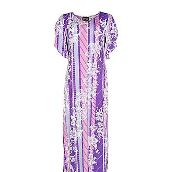 Bob Mackie Women's Floral Printed Tulip Sleeve Knit Dress Purple A290712