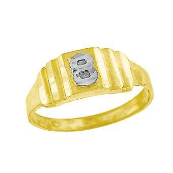 10k Deux tonalitéS Gold bébé pour les garçons ou les fillesNom personnalisé Monogramme initial B Band Ring Measures 6.3x2.50mm Wide S
