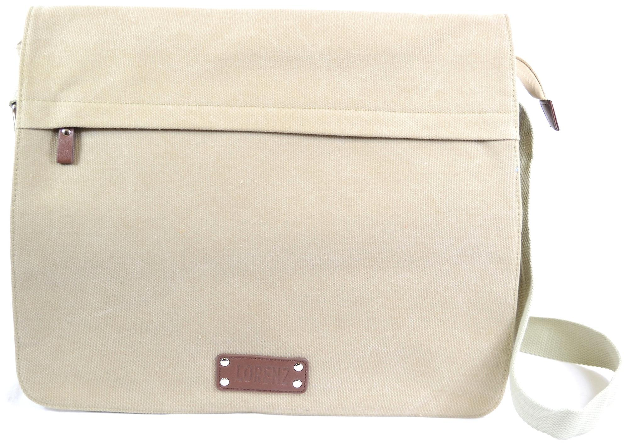 Mens / Ladies Work Bag / Large Messenger Canvas Bag with Removable Inner Sleeve ( Khaki Sand )