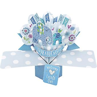 Second Nature Pop Ups Elephants 3d Congratulations Baby Boy Card Pop144