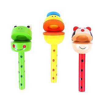 Bigjigs Toys Wooden Animal Clacker Sticks Rattle Musical Toy (Pack of 3)