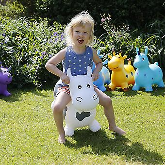 Happy Hopperz Inflatable Bouncy Ride On Toys - White Bull