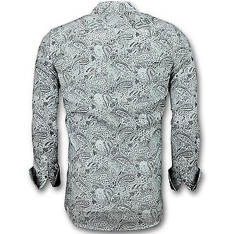 Men's Shirts Italian-Blouse Paisley Print-3019-White