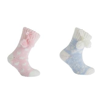 Kinder Mädchen Fairisle Pom Pom Winter Pantoffel Socken