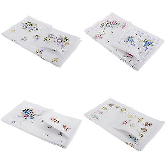 Womens/Ladies Floral Cotton Rich Handkerchiefs (Pack Of 8)