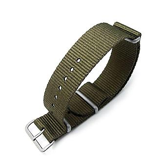 Strapcode n.a.t.o watch strap miltat 22mm g10 military watch strap ballistic nylon armband, brushed - military green
