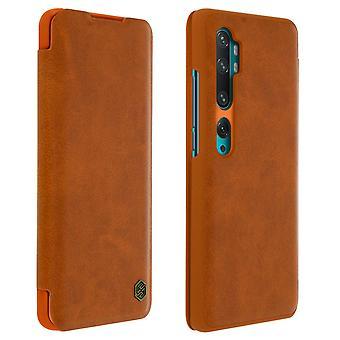 Nillkin Qin-serien flip plånbok fall, kortplats Xiaomi Mi Note 10 / 10 Pro Brown