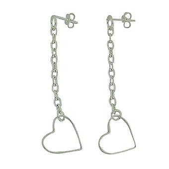 The Olivia Collection Sterling Silver Open Heart Fancy Long Drop Earrings