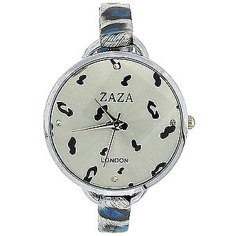 Zaza London Black & Blue Leopard Design Silver Dial Ladies Fashion Watch LLB872