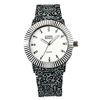 Eton Womens Fashion Watch, Grey / Black Animal Print,  Chrome Bezel - 3180J-GY
