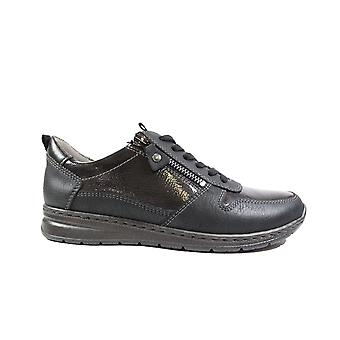 Ara Sapporo 62422-16 Black Leather Womens Wide Fit Lace/Zip Trainers