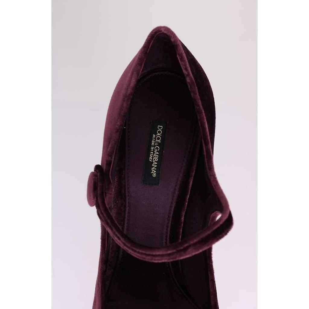 Dolce & Gabbana Purple Velvet Mary Janes Leather Shoes -- LA38711664 5MPRt