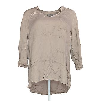Lisa Rinna Collection Women's Top Woven Open-Neck Blouse Beige A341679