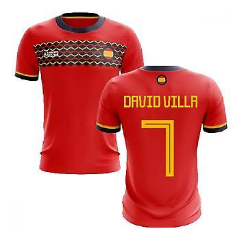 2020-2021 إسبانيا مفهوم المنزل لكرة القدم قميص (ديفيد فيلا 7)
