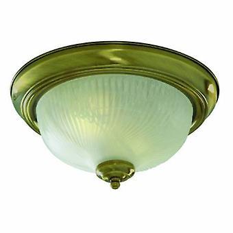 2 luz de teto leve flush bronze antigo com Opal Glass Dome difusor