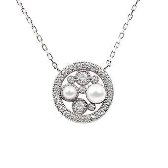 Natural Pearl CZ Pendant Necklace Bridal Wedding Round 925 Sterling Silver Big