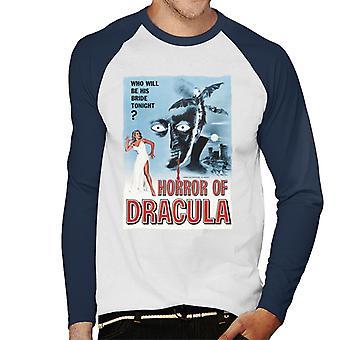 Hammer Horror Films Dracula Classic Film Poster Men's Baseball Long Sleeved T-Shirt