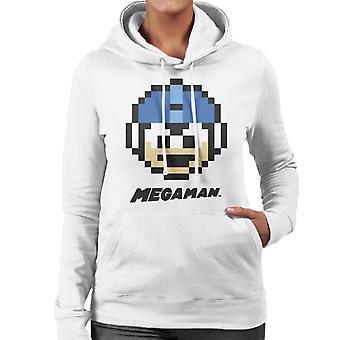 Mega Man Pixel Face Women's Hooded Sweatshirt