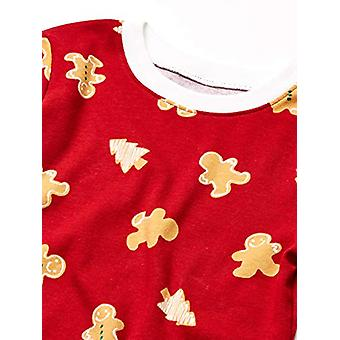 Essentials Kids Long-Sleeve Tight-Fit 2-Piece Pajama Set, Red Gingerbread, X-Small