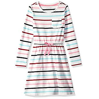 Essentials Toddler Girls' Long-Sleeve Elastic Waist T-Shirt Dress, mul...
