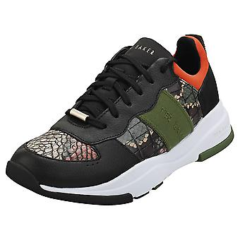 Ted Baker Wavara Womens Fashion Trainers in Black Green