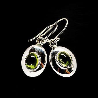 """Peridot Earrings 1 1/4"""" (925 Sterling Silver)  - Handmade Boho Vintage Jewelry EARR405678"""