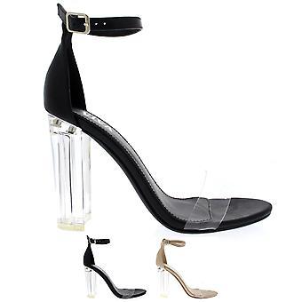 Womens glas hiel enkel riem hoge hakken schoenen avond chique Party sandalen UK 3-8
