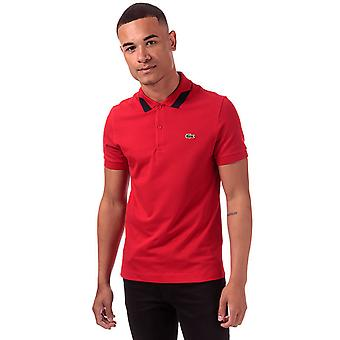 Lacoste men's red collar detail short sleeve polo shirt