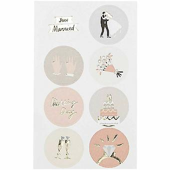 Just Married mariage jour autocollants x 32 Craft / Scrapbooking
