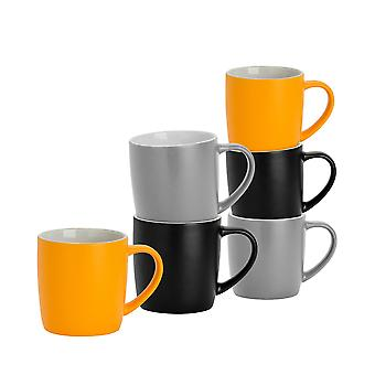 6 Piece Matt Tea and Coffee Mug Set - Modern Style Porcelain Cappuccino Latte Mugs - Black Grey Yellow - 350ml