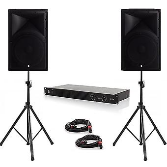 Party pack one - 2 x alpha 12 600w peak pa speakers with amplifier, cables and stands