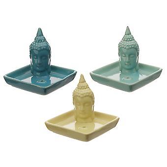 Quadratische Keramik Eden Ashcatcher Räucherstäbchen Brenner - Thai Buddha X 1 Pack