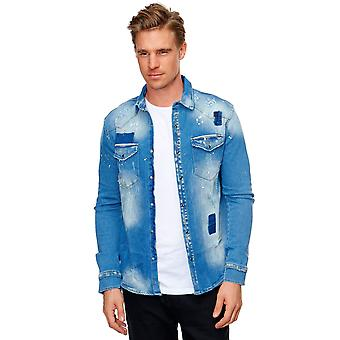 Men Denim Jeans Shirt Used Designer Longsleeve Denim Jacket Top solid Material