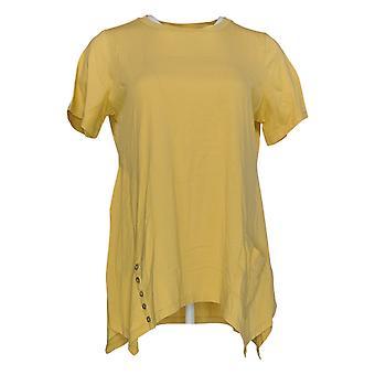 LOGO By Lori Goldstein Women's Top Button & Pocket Detail Yellow A301072