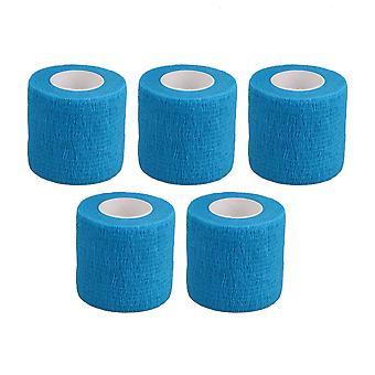 5PCS Breathable Cohesive Bandage Adherent Athletic Tape Width 5cm Blue