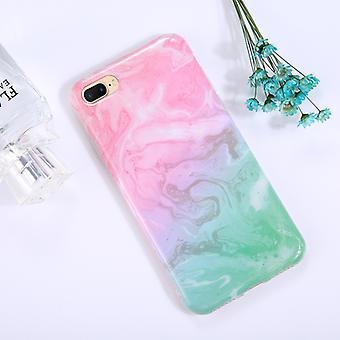 Voor iPhone 8 Plus en 7 Plus Pink Green Marble Patroon TPU Volledige dekking Schokbestendige Beschermende Achterkant Case