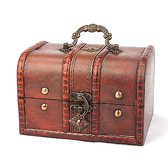 Wooden Pirate Jewellery Storage Box, Case Holder Vintage Treasure Chest Home