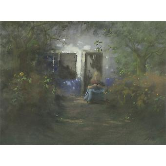 Idyll By Jan Voerman C 1890-1930 Dutch Painting Watercolor On Paper Soft Focus View On Garden Path With Woman Seated In Front Of A House Poster Print