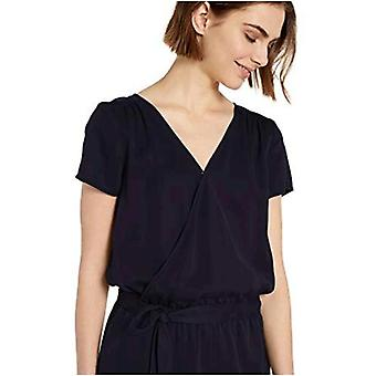 Marca - Daily Ritual Women's Tencel Short-Sleeve Wrap Romper, Navy, 16
