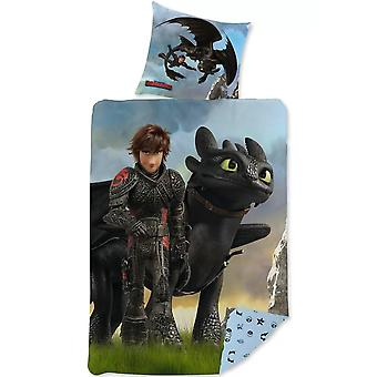 How To Train Your Dragon Black Duvet Cover Bed Set Reversible 140x200cm