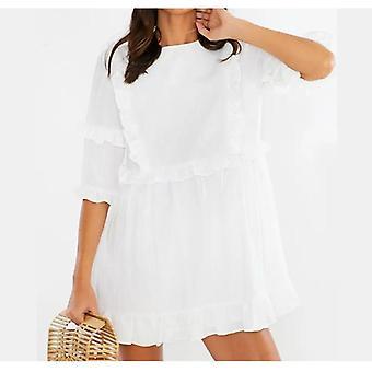 Dámské mini volánkové letní šaty, pevné šaty s krátkým rukávem