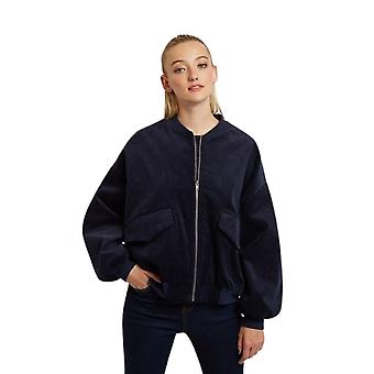 Louche Womens Walt Cord Balloon Sleeve Bomber Jacket Navy