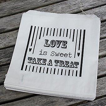 """Hvitt papir poser """"Kjærlighet er søt"""" Bag - bryllup Sweet Candy Bar x 90 tjenester"""
